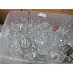 ASSORTED GLASS CUPS AND MUGS