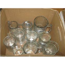 BOX OF ASSORTED GLASS MUGS