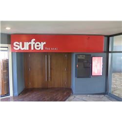 """Surfer The Bar"" Large Red & White Sign w/ Mounting Hardware 167"" x 31"" x 5"""