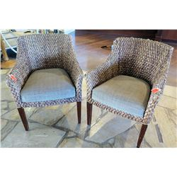 "Qty 2 Woven Chairs w/ Upholstered Seats (26"" Across)"
