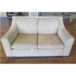 Beige Loveseat w/ Cushions 64  x 33  x 34  Back Ht.