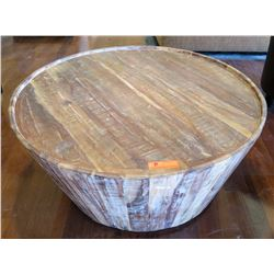 "Distressed Tapered Round Wooden Coffee Table  35"" Dia, 18.5"" H"