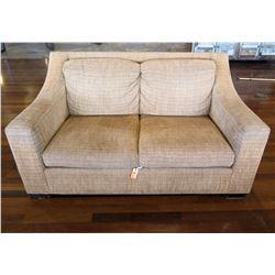 Beige Loveseat w/ Cushions 64  x 33  x 34  Back Ht.