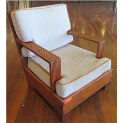 "Wooden Armchair w/ Back & Seat Cushions 32""x35""x34""Ht"