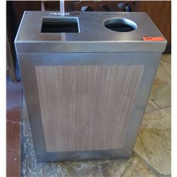 "Trash & Recyclables Receptacle, Brushed Steel 24.5"" x 12.5"" x 34.5""H"