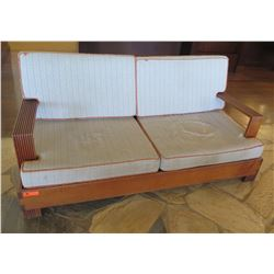 "Wooden Sofa w/ Back & Seat Cushions 73"" x 28"" x 33""Ht"