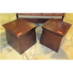 Qty 2 Square End Tables w/ Removeable Top 19.5  x 19.5  x