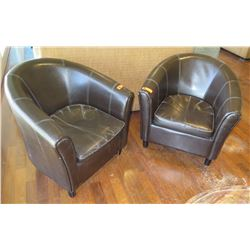 "Qty 2 Dark Armchairs 30.5"" Back Ht."
