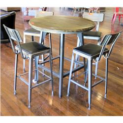 "Round Metal Bar-Height Table w/ Wooden Top (37"" Dia) & 4 Bar-Height Stools"