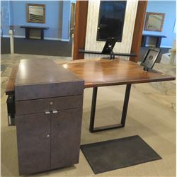 Wooden Reception Desk w/ Attached Cabinet & 2 Tablet Holders