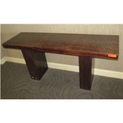 "Wooden Console Table with Carved Textured Top 71.5"" x 21"" x 31.5""H"