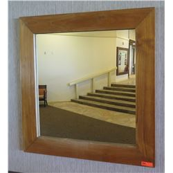 "Square Wood-Framed Wall Mirror 47"" x 47"""