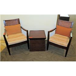 "Qty 2 Wooden Chairs w/ Woven Back (34""H), Seat Cushions & Pillows & Square Wooden Table 19.5""x19.5""x"