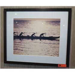 """Framed & Matted Art: Canoe Paddlers 28"""" x 24"""""""