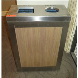"""Trash & Recyclables Receptacle, Brushed Steel 24.5"""" x 12.5"""" x 34.5""""H"""