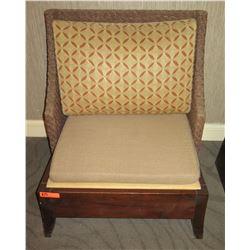 "Wooden Chair w/ Woven Backrest & Back Cushion 30"" x 25.5""D x 34.5""H 30"" x 25.5""D x 34.5""H"