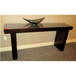 """Dark Wooden Console Table 78"""" x 18"""" x 36"""" (wooden bowl ornament not included)"""