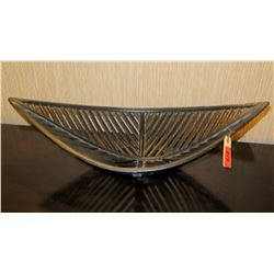 """Oval Ribbed Wooden Decorative Bowl, Approx 26"""" x 12""""x 8""""H"""