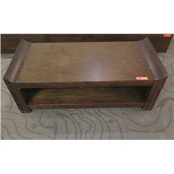 "Rectangular Wooden Coffee Table w/ Raised Edges & Undershelf 48"" x 22"" x 17""H"