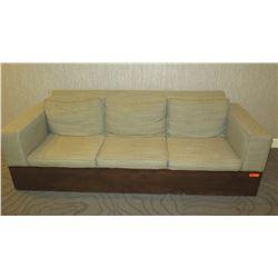 "Beige Sofa w/ Wooden Base 96"" x 36""D x 33""H"