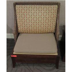 "Wooden Chair w/ Woven Backrest & Back Cushion 30"" x 25.5""D x 34.5""H"
