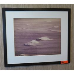 """Framed & Matted 28"""" x 24 Art: Monochrome Rolling Waves"""