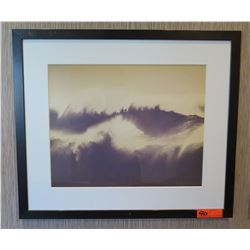 "Framed & Matted 28"" x 24 Art: Monochrome Crashing Waves"