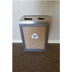 """Trash & Recycle Receptacle, Brushed Steel 24.5"""" x 12.5"""" x 34.5""""H 24.5"""" x 12.5"""" x 34.5""""H"""