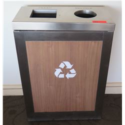 """Trash & Recycle Receptacle, Brushed Steel 24.5"""" x 12.5"""" x 34.5""""H"""