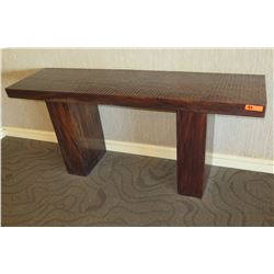 """Wooden Console Table with Carved Textured Top 71.5"""" x 21"""" x 31.5""""H"""
