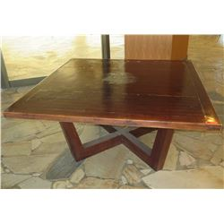 """Large Wooden Square Table w/ Geometric Base 71.5"""" x 71.5"""" x 34.5""""H"""