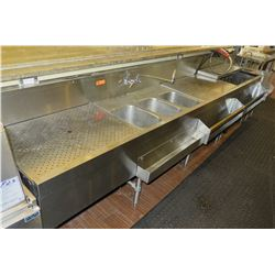 """Eagle Kitchen Stainless Steel 3-Basin Sink, Drain Boards & Hand Sink 146.5"""" x 31""""D x 38""""H"""