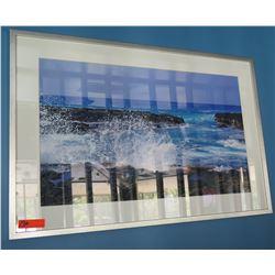 """Framed & Matted 44"""" x 30"""" Art - Wave Splash #2"""