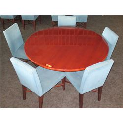 """Large Round Table w/ Metal Base (30""""Dia, 30""""H) & 5 Upholstered Chairs"""