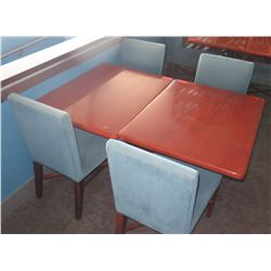 """2 Rectangular Wooden Tables w/ Metal Base (38"""" x 28"""" x 30"""") & 4 Upholstered Chairs"""
