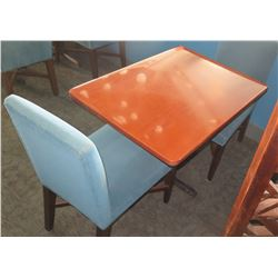 """Rectangular Wooden Table w/ Metal Base (38"""" x 28"""" x 30"""") & 2 Upholstered Chair"""