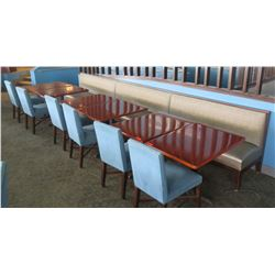 6 Rectangular Wooden Tables, 6 Upholstered Chairs & Row of Booth Seating