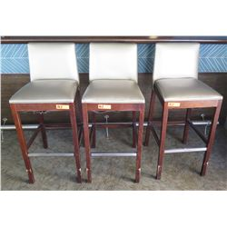 """Qty 3 Silver Wooden Bar-Height Stools w/ Upholstered Back & Seat (40""""H Backrest)"""