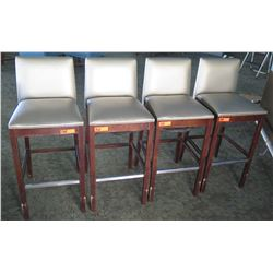 """Qty 4 Silver Wooden Bar-Height Stools w/ Upholstered Back & Seat (40""""H Backrest)"""