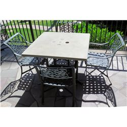 """Square Hard Surface Patio Table w/ Metal Base (41""""x41""""x29""""H) & 4 Metal Chairs"""