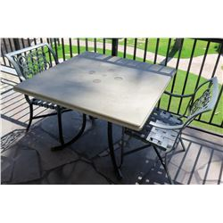 """Square Hard Surface Patio Table w/ Metal Base (41""""x41""""x29""""H) & 2 Metal Chairs"""