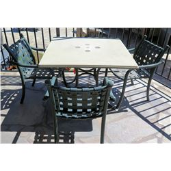 """Square Hard Surface Patio Table w/ Metal Base (41""""x41""""x29""""H) & 3 Metal Chairs"""