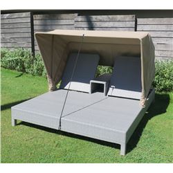 """Gray Poolside Lounger for Two w/ Canopy 69"""" x 84"""" x 55""""H Woven Synthetic Material"""