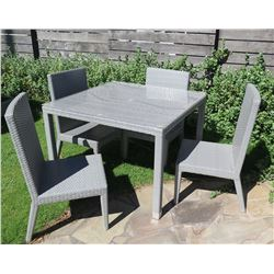 """Gray Table w/ Removable Plexiglass Top (41.5""""x41.5""""x30"""") & 4 Chairs, Woven Synthetic Material"""