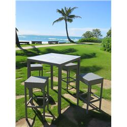 """Gray Bar-Height Table 36""""x36""""x43.5""""H & 4 Chairs, Woven Synthetic Material, Removable Plexiglass Top"""