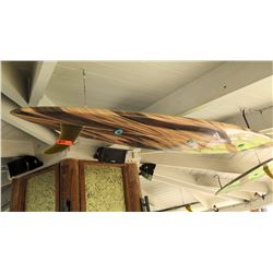 Repurposed Surfboard Ceiling Light Fixture, Brown Wood Grain Pattern, Approx. 9ft Long
