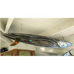 Repurposed Surfboard Ceiling Light Fixture, Black w/ Stripe/Swirl Pattern, Approx. 9ft Long
