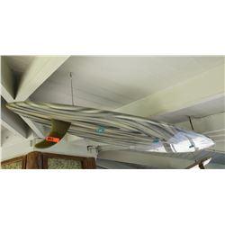 Repurposed Surfboard Ceiling Light Fixture, Gray w/ Wood Grain Pattern, Approx. 9ft Long