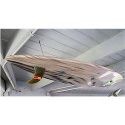 Repurposed Surfboard Ceiling Light Fixture, White w/ Black Stripe Markings, Approx. 9ft Long