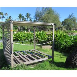 "Slatted Mini Cabana w/ Sliding Top Shade Panels 79"" x 79"" x 77"" (metal or aluminum)"